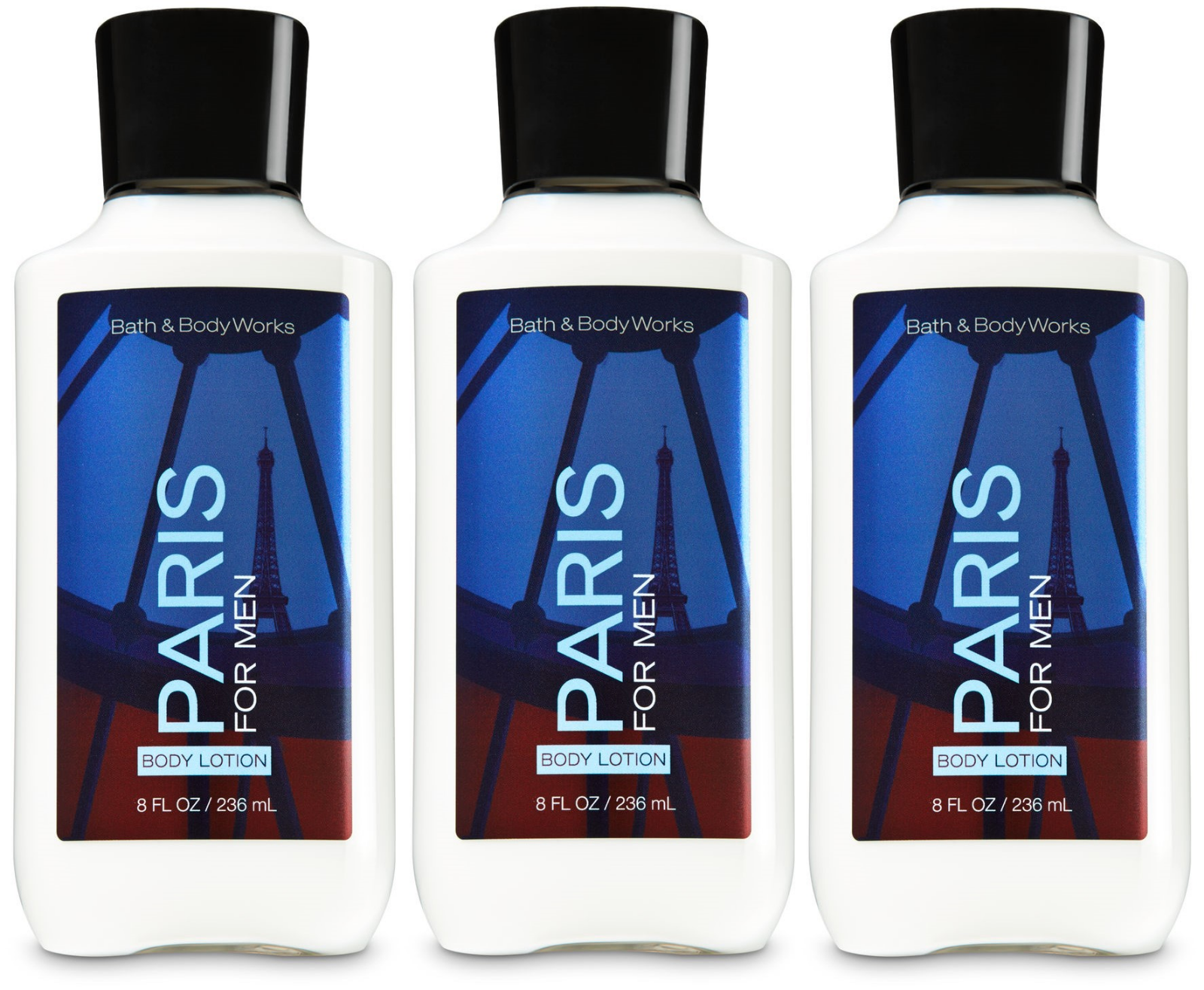 Primary image for Bath & Body Works Paris For Men Body Lotion 8 fl oz / 236 ml Set Of 3 Bottles
