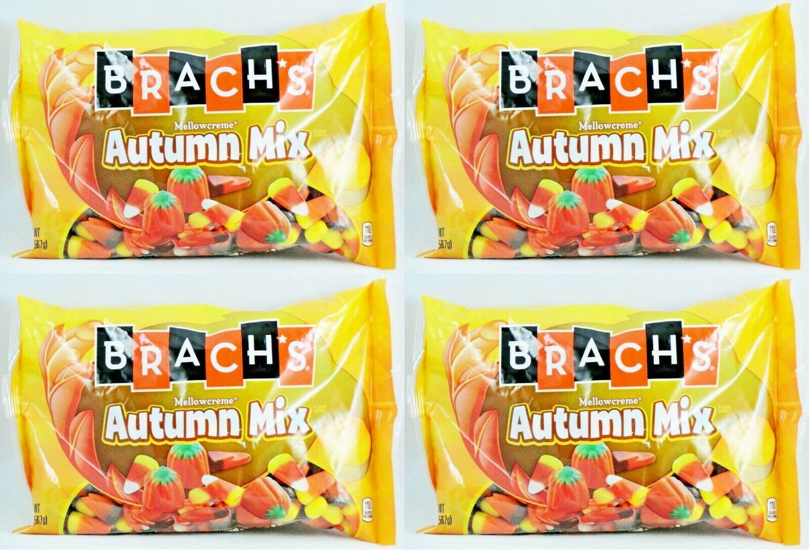 4x 20oz BAG BRACH'S AUTUMN MIX MELLOWCREME CANDY CORN PUMPKINS HARVEST CORN NEW
