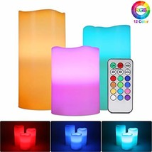RGB Flameless Candles Light, ALED LIGHT 3 Pack Multicolor Real Wax Tea L... - $33.43