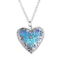 Essential Oils Pendant Hollow Heart Locket Necklace For Fragrance Aromat... - $18.59