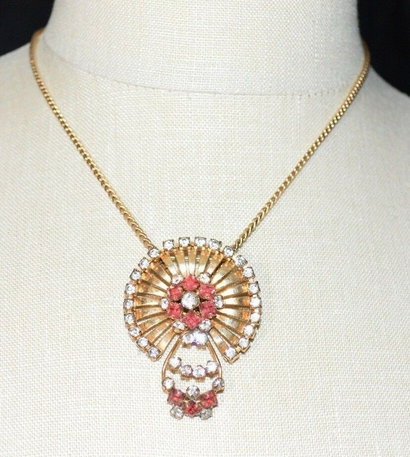 Primary image for Vintage PHYLLIS M&S Co 1/20 12K GF Gold Filled Rhinestone Pendant Pin Necklace