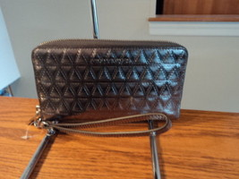 Michael Kors Large Multifunction Phone Case Leather Zip Wallet Gunmetal ... - £63.03 GBP