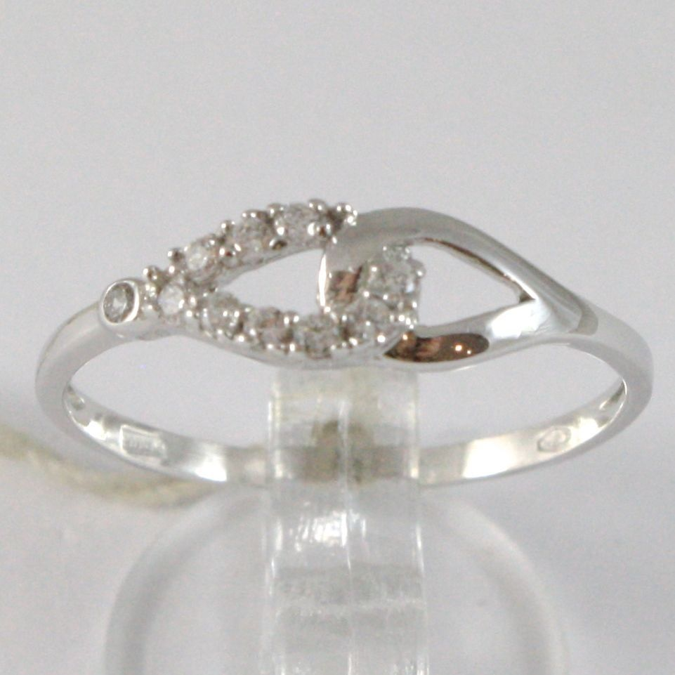 WHITE GOLD RING 750 18K, HUG INFINITY WITH ZIRCON, MADE IN ITALY