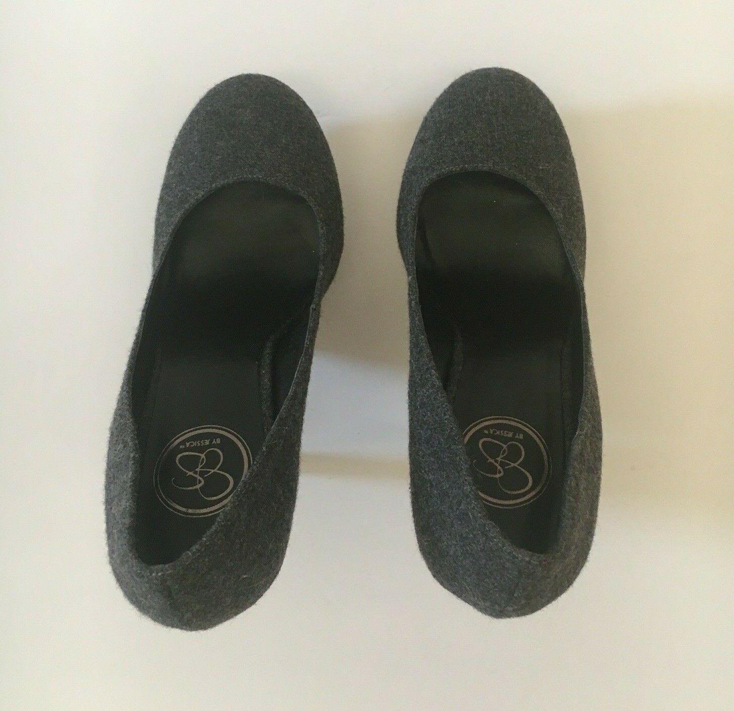 Jessica Simpson Gracex Gray Wool Round Toe Platform Pumps Heels Size 7.5 M  image 3