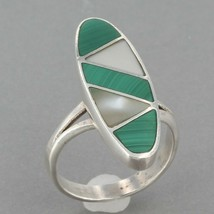 Southwestern Handcrafted Sterling Malachite & Mother of Pearl Inlay Ring Sz 5.5 - $14.95