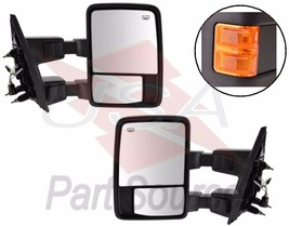 Towing Mirrors Power Heated Turn Signal For 99-07 Ford SD Mirror Orange Amber - $158.95