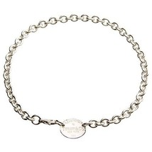 "Tiffany & Co . Argento Sterling """" Return To """" Ovale Tag Collegamento C... - $346.97"