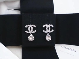 100% AUTH NEW CHANEL LARGE CC Crystal Dangle Drop Earrings image 5