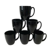 Set of 6 Corelle Coordinates Stoneware Coffee Tea Cocoa Mugs Black 12oz ... - $22.28