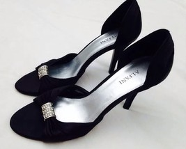 "Alfani Black Satin Jeweled Open Toed Formal Dress Heels 6.5 M Yumi 3"" Sl... - $22.44"