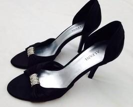 """Alfani Black Satin Jeweled Open Toed Formal Dress Heels 6.5 M Yumi 3"""" Sl... - $18.22"""