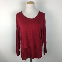 Melissa Paige Women's Red Scoopneck Longsleeve Stretch Fit Shirt Size Large - $8.99