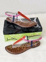 ✨New Sam Edelman Gigi Thong Suede Sandals Red Pink Navy Womens Size 8M $70 Nib - $32.55