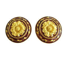 Karl Lagerfeld Large Round Gold & Enamel Medallion Earring Clips - $145.00