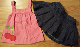 Girl's Size 12 M Months 2 Pc Pink Cherry Gymboree Top, Navy Tommy Hilfiger Skirt - $13.00