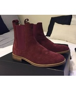 Men Burgundy Color Suede Chelsea Boots Men Classic Suede Casual Ankle Boots - $179.99