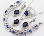 jewelry sets blue crystal white necklace pendant earrings ring bracelet free gift thumb155 crop