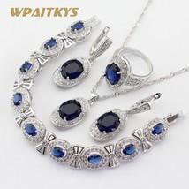 4pcs Women Silver Color Jewelry Sets Blue Crystal White Necklace Pendant... - $28.74