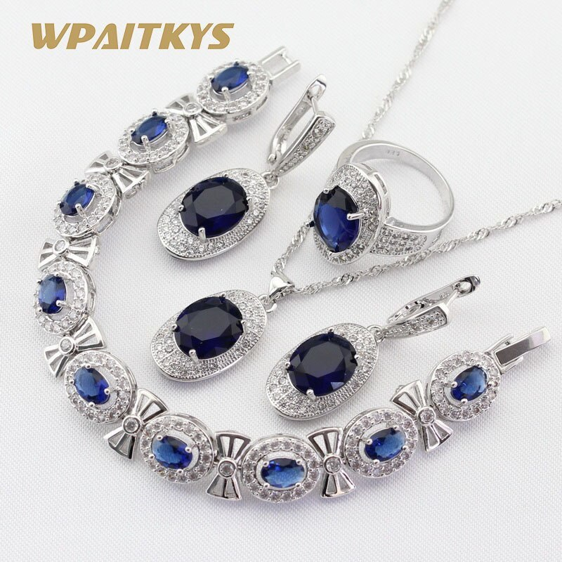 4pcs Women Silver Color Jewelry Sets Blue Crystal White Necklace Pendant Earring