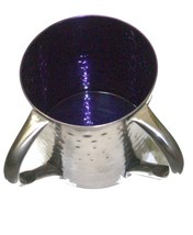 Judaica Hand Wash Cup Netilat Yadayim Last Water Stainless Steel Purple Hammered image 7