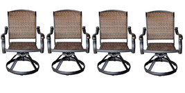 Patio outdoor Wicker Santa Clara Swivel Rocker Dining Chairs set of 4 image 1