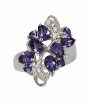 Cluster Amethyst And CZ Prong Set 925 Sterling Silver Jewelry Ring Sz 7 ... - $29.76