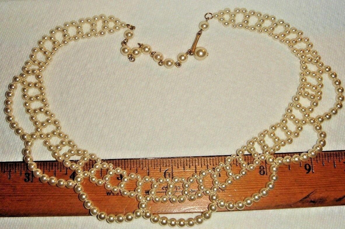 VTG 1940's-50's FAUX PEARL LACEY COLLAR NECKLACE BAROQUE SCREWBACK EARRING SET 2