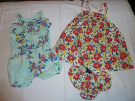 BABY GIRL SUMMER SPRING CLOTHES OUTFIT  DRESS ROMPER LOT FLORAL CHAPS GA... - $18.80
