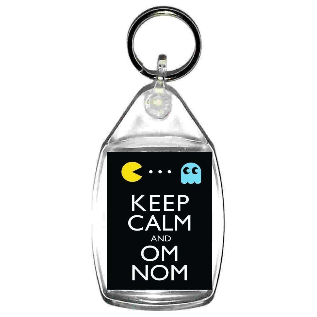 keyring double sided keep calm and om nom famous computer game based fun, novelt