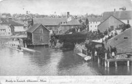 Fishing Boat Trawler Ready To Launch Gloucester Massachusetts 1906 postcard - $7.43
