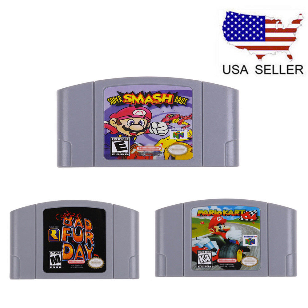 Primary image for N64 Game Mario,Smash Bros,Kart , Bad Fur Day Video Game Cartridge Console Card