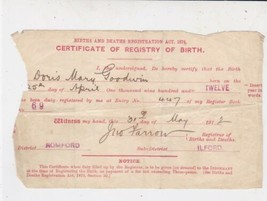 Certificate of Registry of Birth 1912 Doris Mary Goodwin Ilford/Romford ... - $7.59