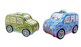 PANDA SUPERSTORE Set of 2 Cartoon Jeep Car Tin Coin Saving Cases for Kids