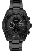 New Seiko SSC721 Essentials Black Dial Black Stainless Steel Chronograph... - $317.26 CAD