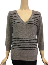 J. Crew Taupe Brown V-Neck Sequin Stripe Sweater S - $52.00