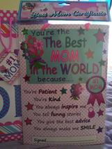 You're the Best Mom In The World Hard Board Certificate Wall Plaque w/ G... - $5.99