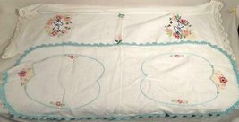 "2 VINTAGE HANDMADE HAND EMBROIDERED TABLE RUNNERS 32""X 12"" & 36""X 12"" - $25.73"