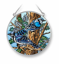 "Bluejays Sun Catcher AMIA 4.5"" Round Hand Painted Glass Birds Blue Jays ... - €19,83 EUR"