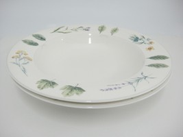 Mikasa Natures Harmony Rimmed Soup Bowls Lot of 2 Y4006 White Flowers Leaves - $12.86