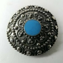 Decorative Flower Pattern With Round Blue Button - $9.49