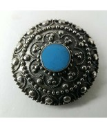 Decorative Flower Pattern With Round Blue Button - $7.75