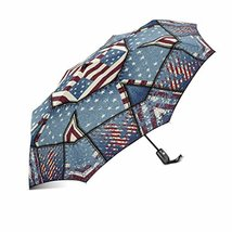 InterestPrint Grunge Blue Patchwork with USA American Flags Windproof Compact On - $25.73