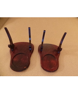 Vintage Pair Cup & Saucer Wood Display Stand Holders Easel Type, Felt Bo... - $33.99