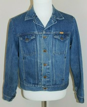 Rustler Size Large Blue Jean Denim Jacket Made in USA Ranch Hipster Coat... - $47.49