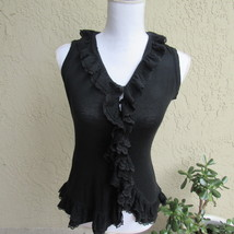 Cristina woman's size small black knit form fitting top ruffled front - $9.89