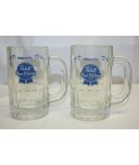 """2 Pabst Glass Beer Mugs – 5-1/8"""" Tall Nice Graphics - $9.89"""
