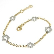 Bracelet Yellow White Gold 18K 750, Flowers, Daisies, 16.5 cm, Made in I... - $354.50