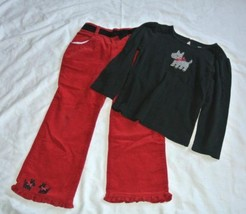 Gymboree Holiday Friends Outfit set scotty dog coduroy Pants 4T black red - $14.80