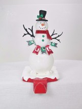 "7"" Tall Snowman in Scarf Hello Christmas Stocking Holder Hanger Shelf Sitter - $17.77"