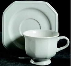 Set of 3 Footed Cup & Saucer Set Continental White F3000 by MIKASA - $10.93